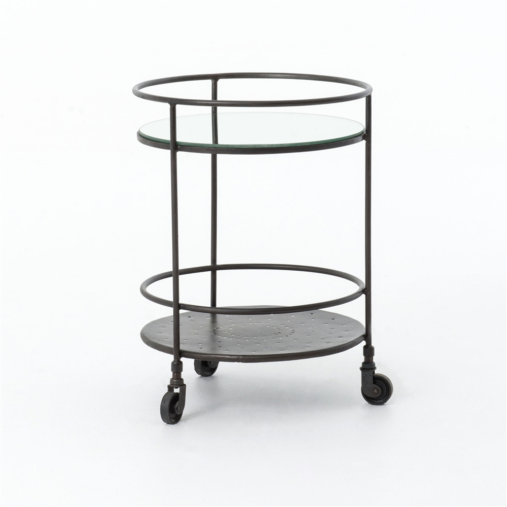 element round mirrored side table