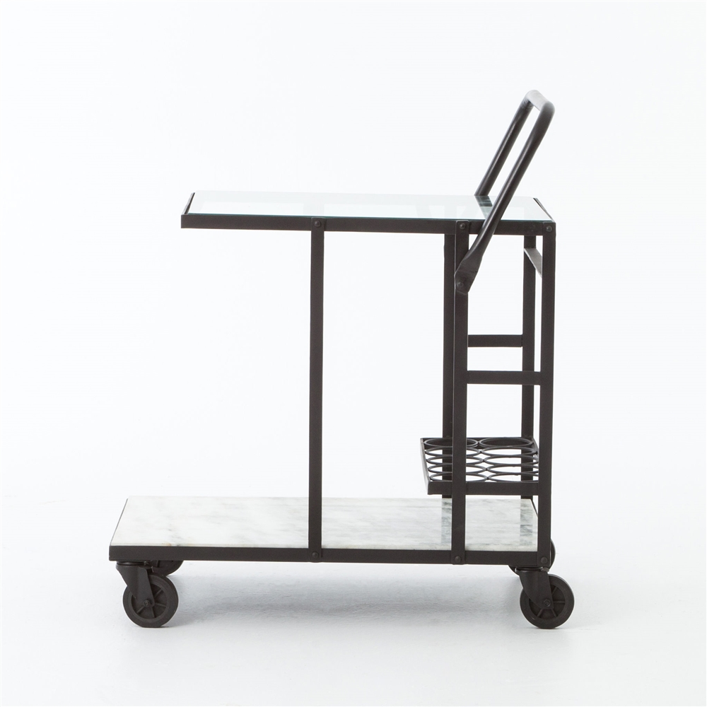 Element Glass U0026 White Marble Bar Cart