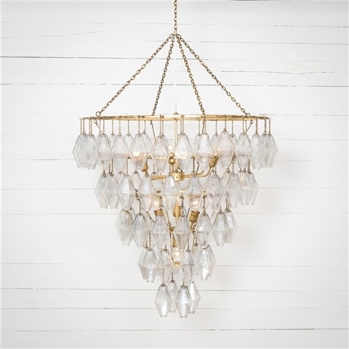 Hutton Adeline Large Round Chandelier in Gold Leaf