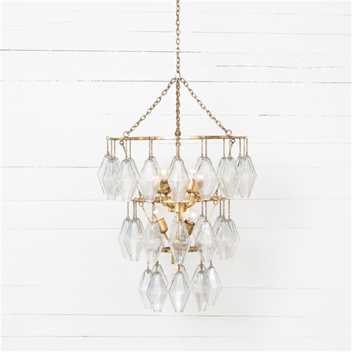 Hutton Adeline Small Round Chandelier in Gold Leaf