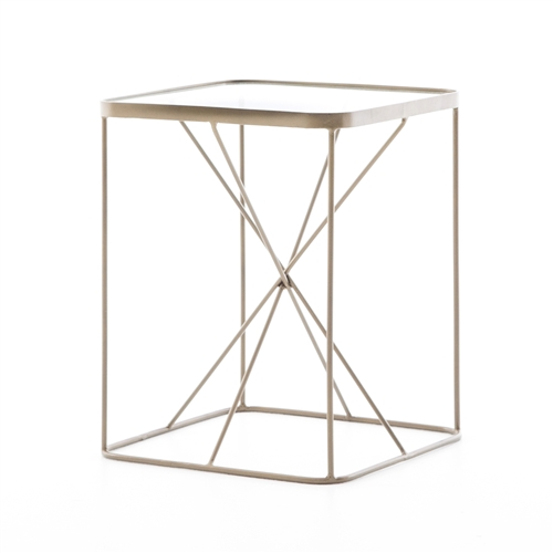 Marlow Lucas End Table in Antique Brass