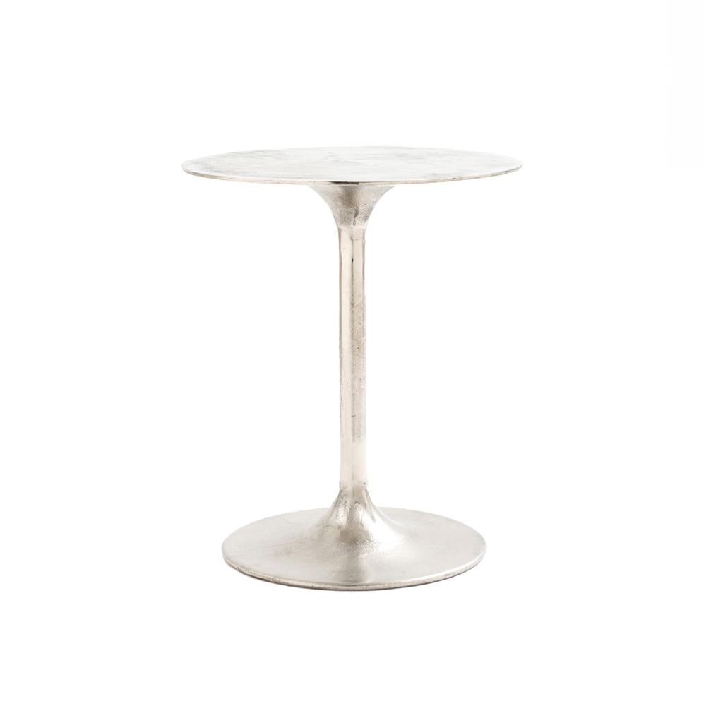 Marlow Tulip Side Table in Raw Nickel The Khazana Home Austin