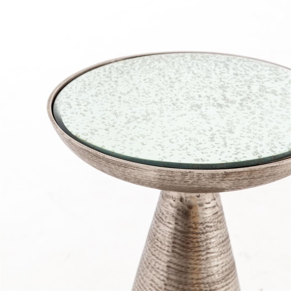 Marlow Mod Pedestal Table In Brushed Nickel