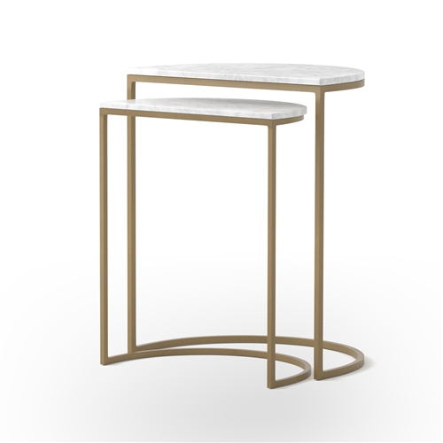 Ane Nesting Tables in Matte Brass