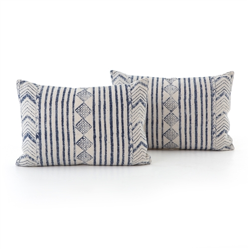 Faded Blue Diamond Bolster, Set of 2