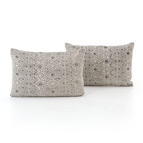 Faded Grey Print Bolster, Set of 2