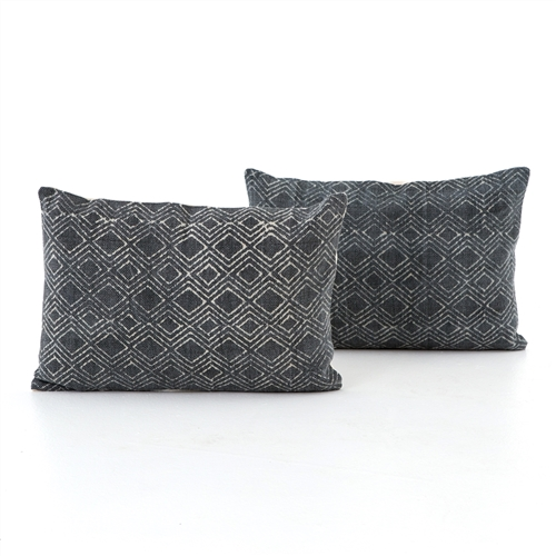 Charcoal Diamond Print Bolster, Set of 2