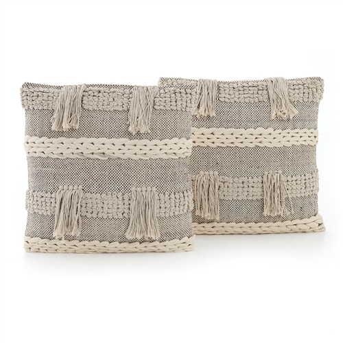 Braided Fringe Pillow, Set of 2