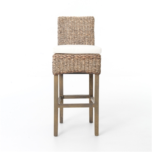 Four Hands Banana Leaf Barstool Cushion-Grey Wash