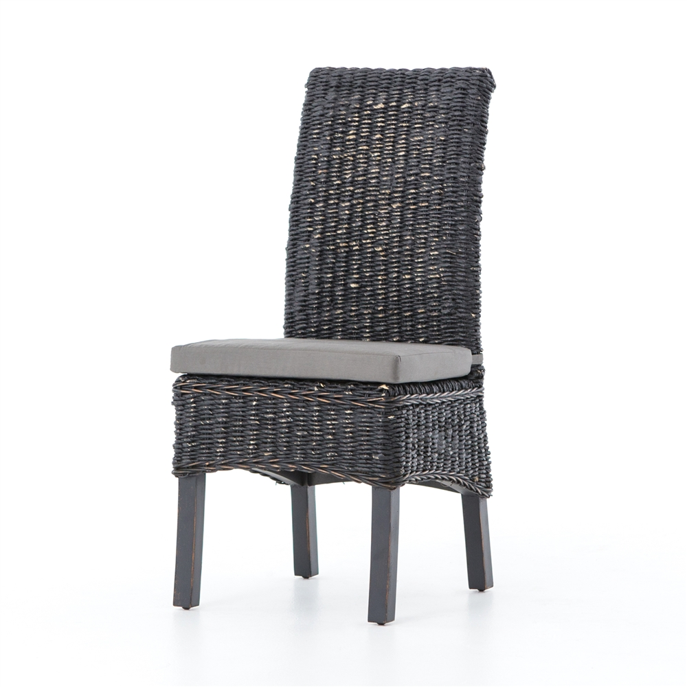 Charmant Grass Roots Banana Leaf Chair In Distressed Black Mahogany
