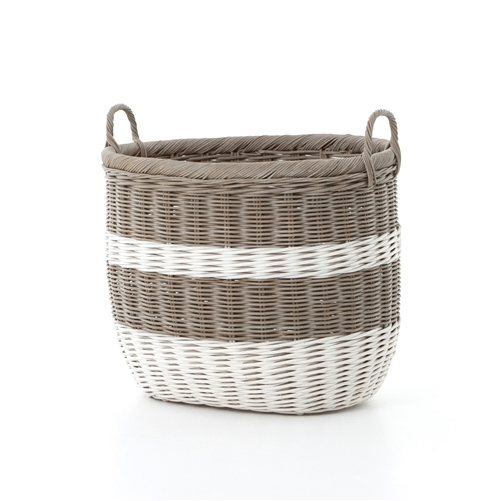 Theory Vintage Grey and White Stripes Basket