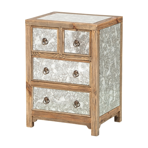 Dixon Glass Inlay 4 Drawer Night Stand