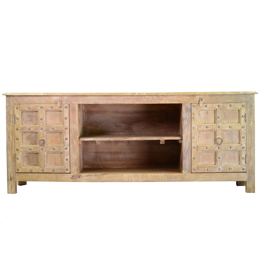 White washed mango wood media console