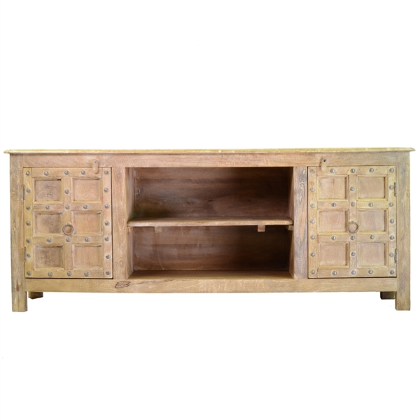 White Washed Mango Wood Media Console