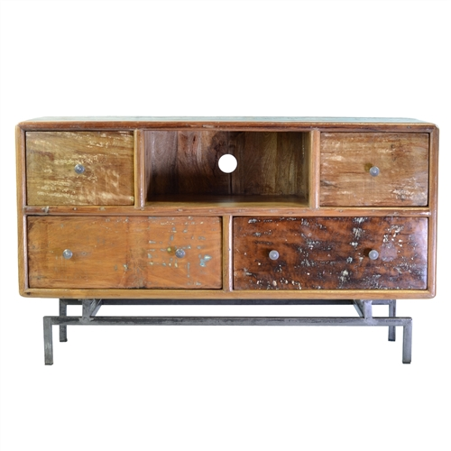 Mango Wood Media Console with 4 Drawers