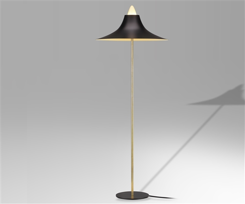 Retro Adjustable Brass Floor Lamp - Matte Black