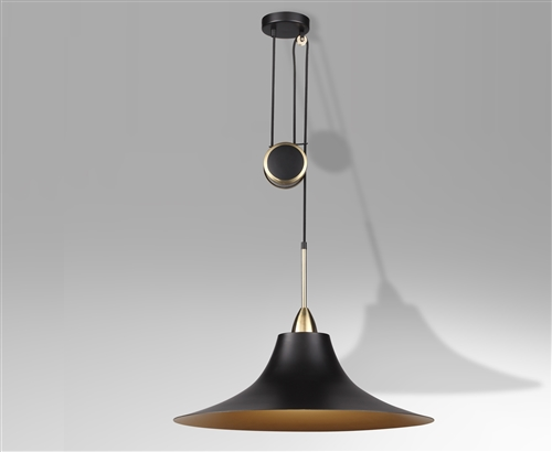 Retro Adjustable Brass Pendant Light - Matte Black