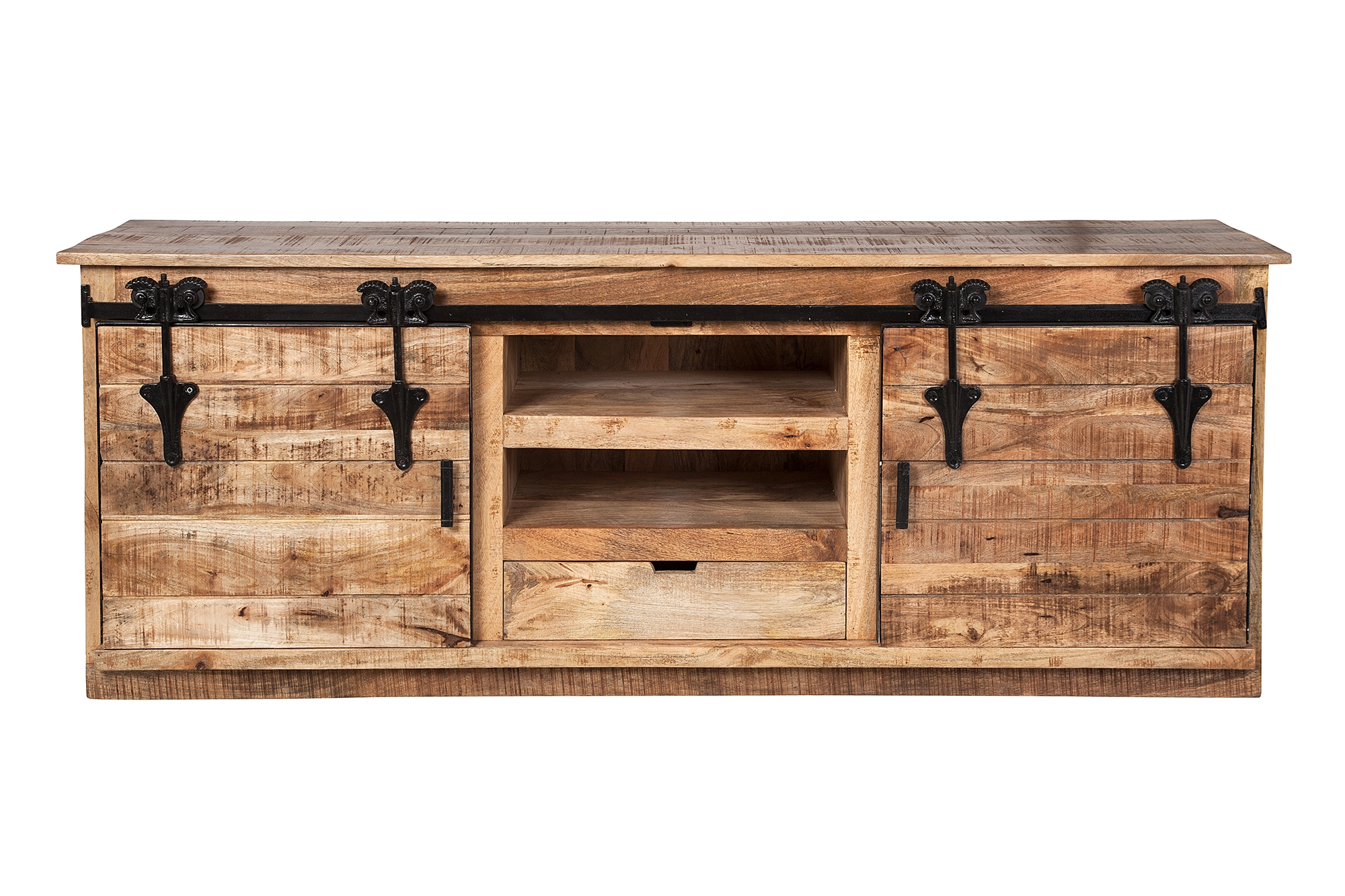 Restoration Media Console With Farmhouse Barn Style Sliding Doors