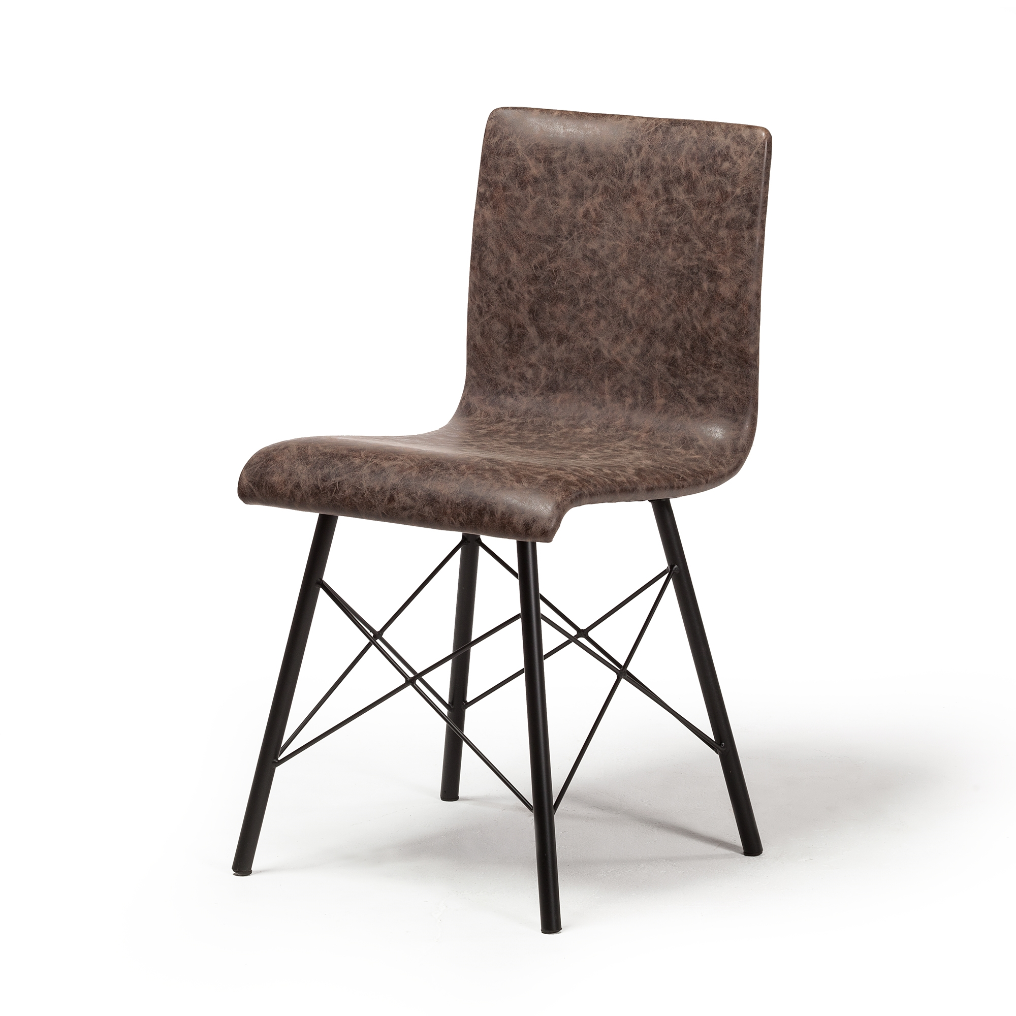 Davis Dining Chair In Distressed Brown Leather