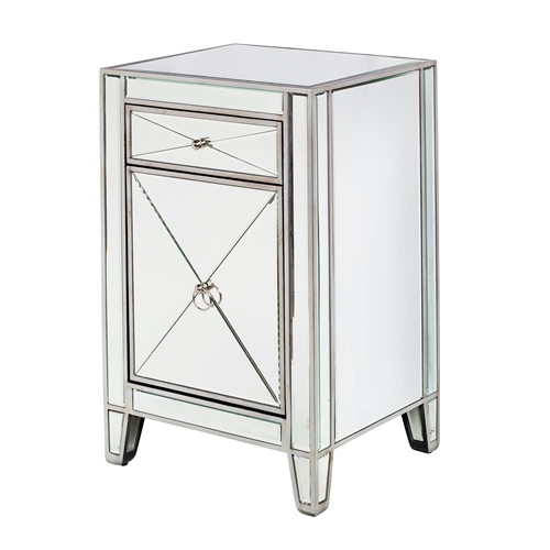 Hollywood Regency Style Mirrored Bedside Cabinet