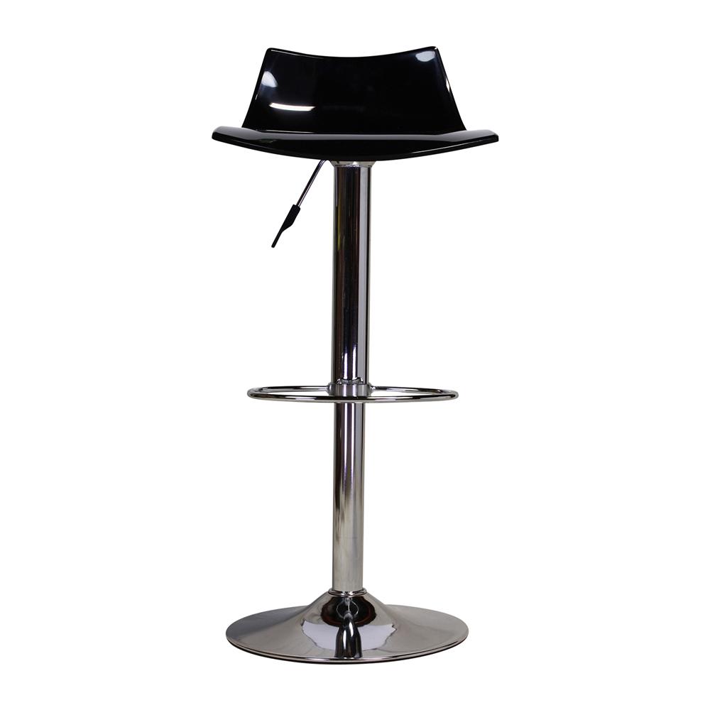 Black Lucite Seat Adjustable Swivel Bar Stool