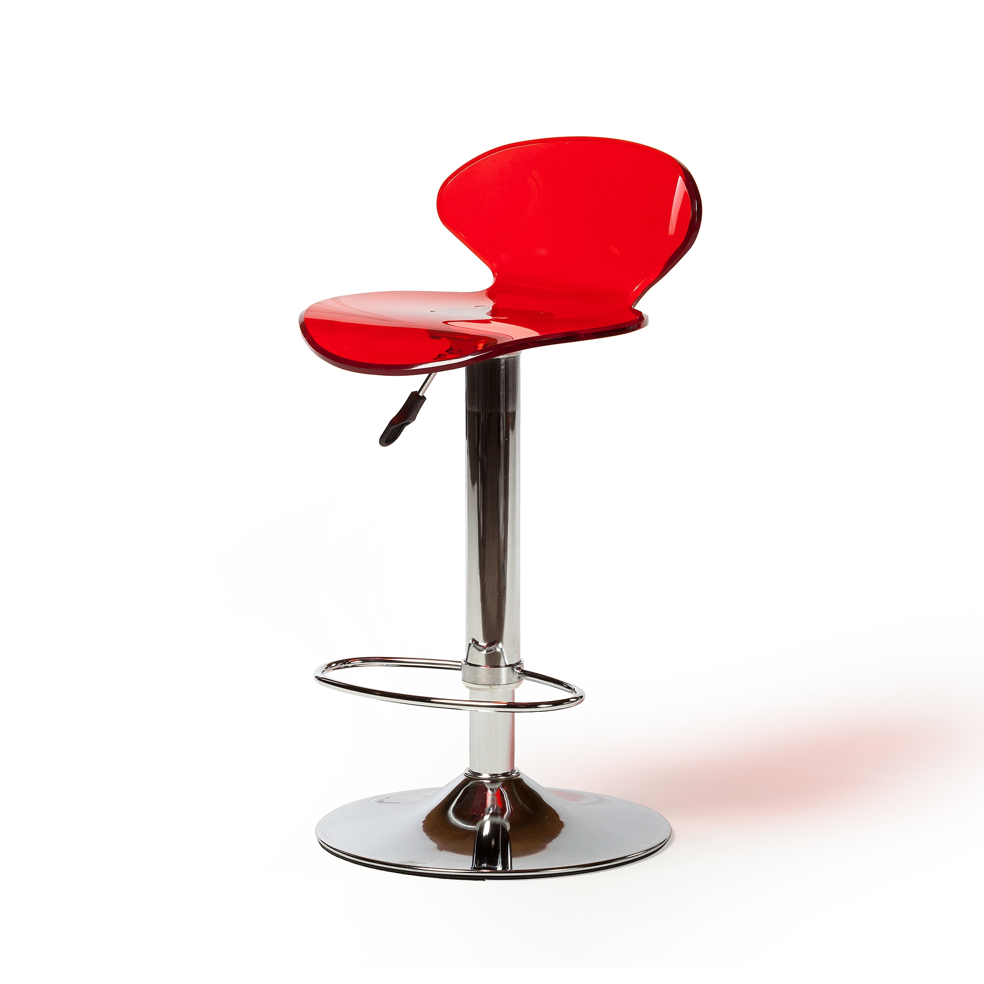 Red Lucite Seat Adjustable Swivel Bar Stool