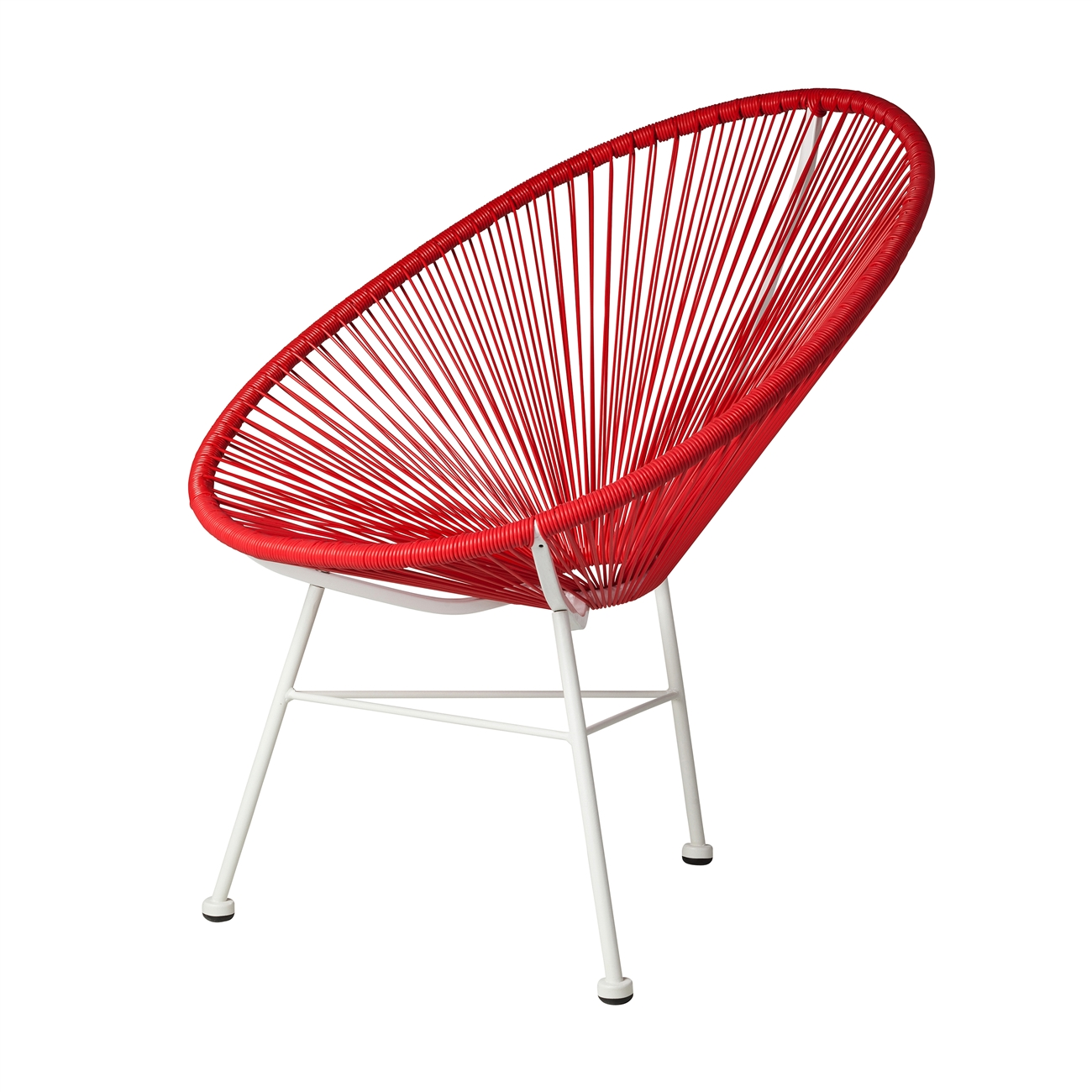 Acapulco chair outdoor - Acapulco Indoor Outdoor Lounge Chair Red Weave On White Frame