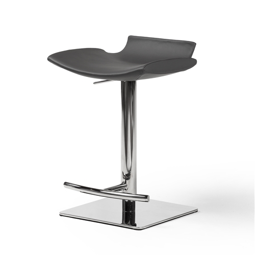 Hydraulic Adjustable Counter Stool, Grey Leather