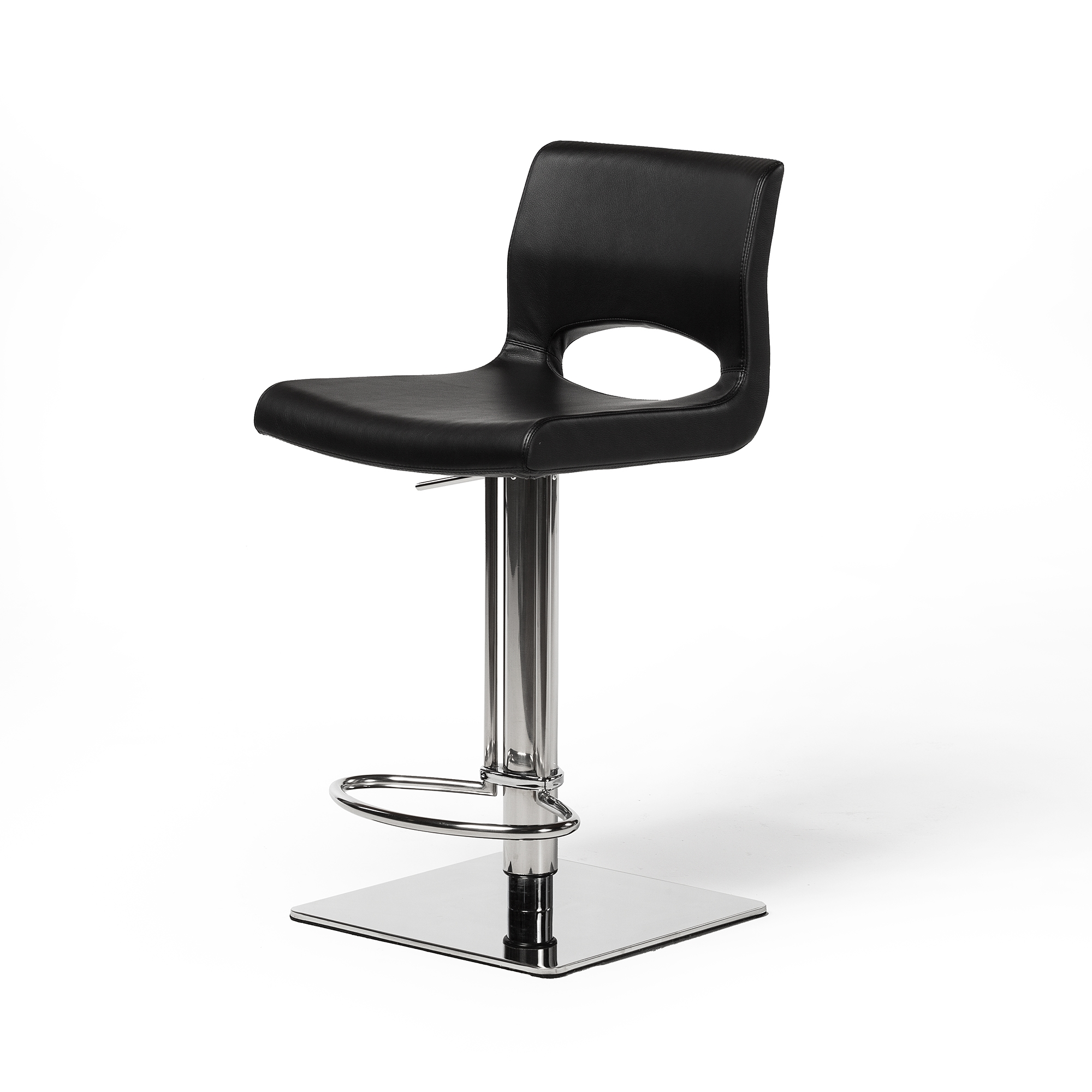 Adjustable Square Counter Stool, Black Leather, The Khazana Home ...