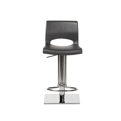 Adjustable Square Counter Stool, Grey Leather