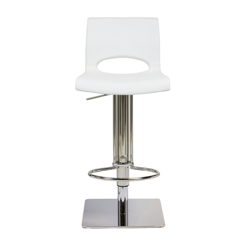 Adjustable Square Counter Stool, White Leather
