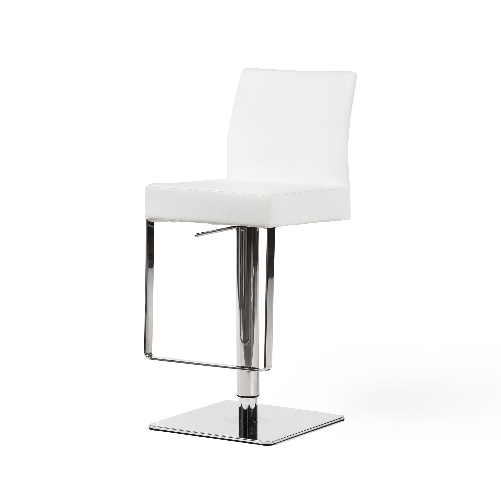 Phenomenal Hydraulic Adjustable Counter Stool White Leather Theyellowbook Wood Chair Design Ideas Theyellowbookinfo