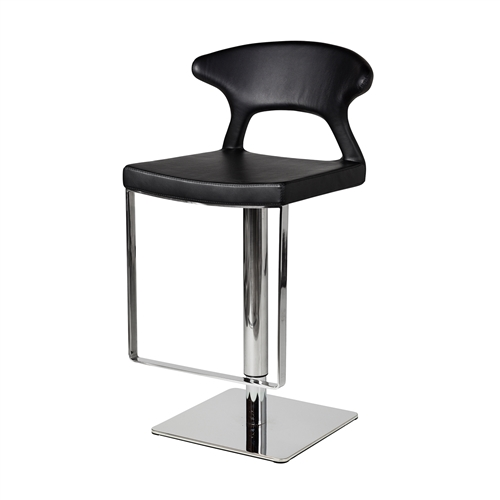 Adjustable Hydraulic Counter Stool, Black Leather