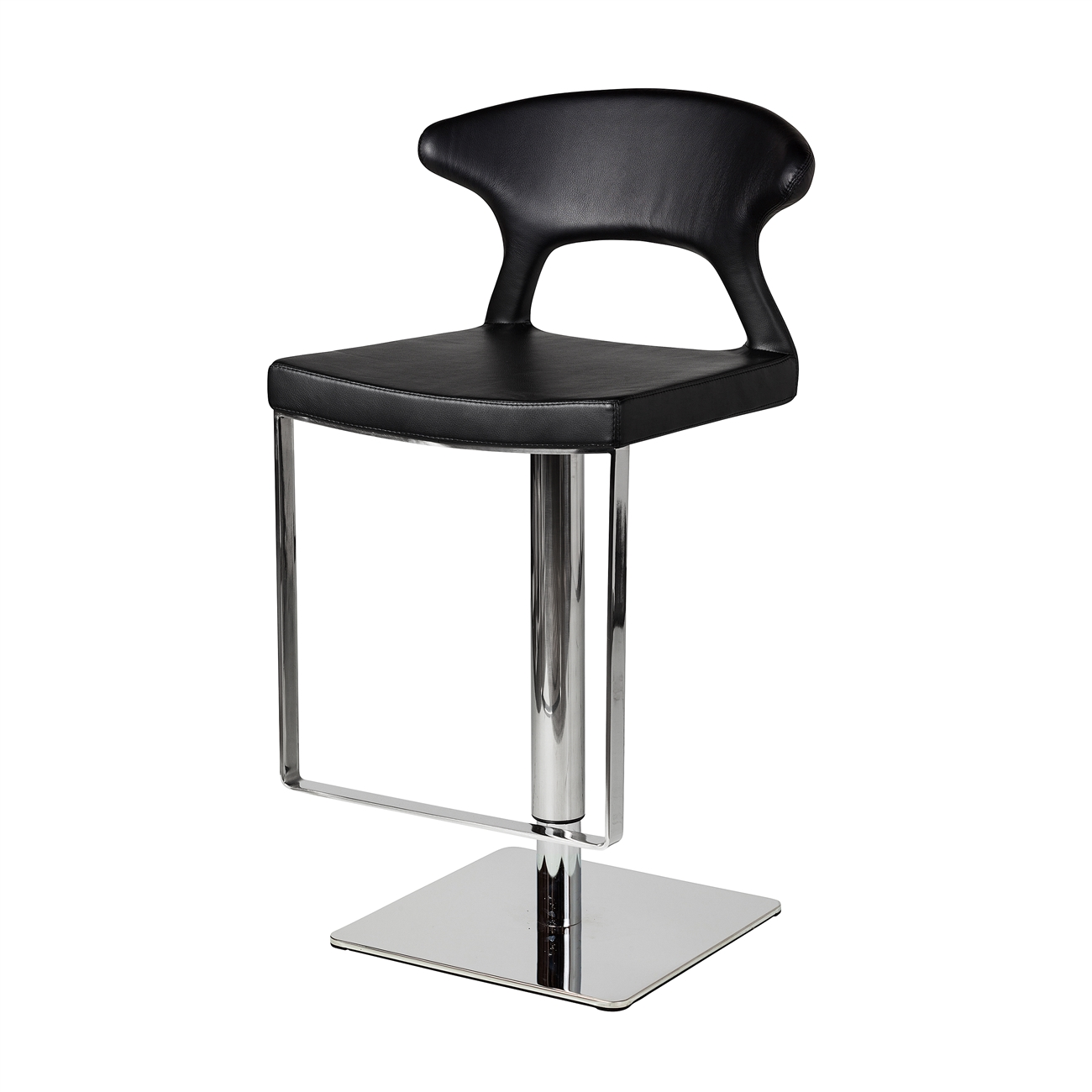 adjustable hydraulic counter stool black leather the khazana  - hydraulic adjustable counter stool black leather