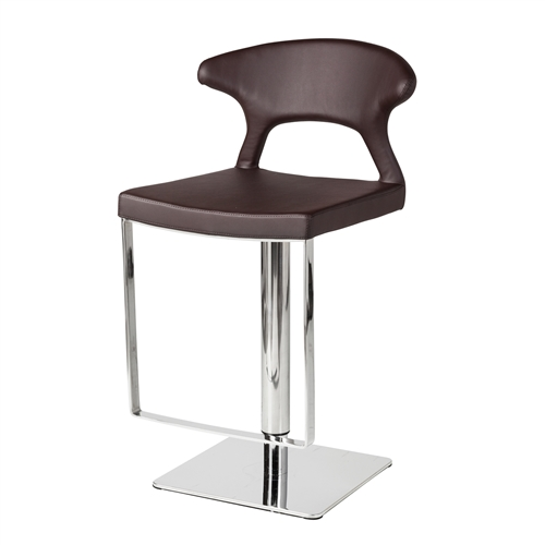 Adjustable Hydraulic Counter Stool, Brown Leather