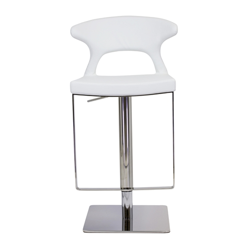 Adjustable Hydraulic Counter Stool, White Leather