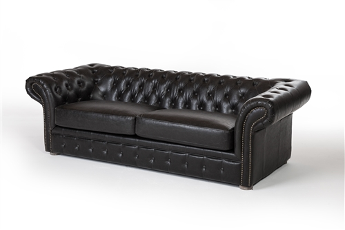"Chesterfield 91"" Sofa - Distressed Black Leather"