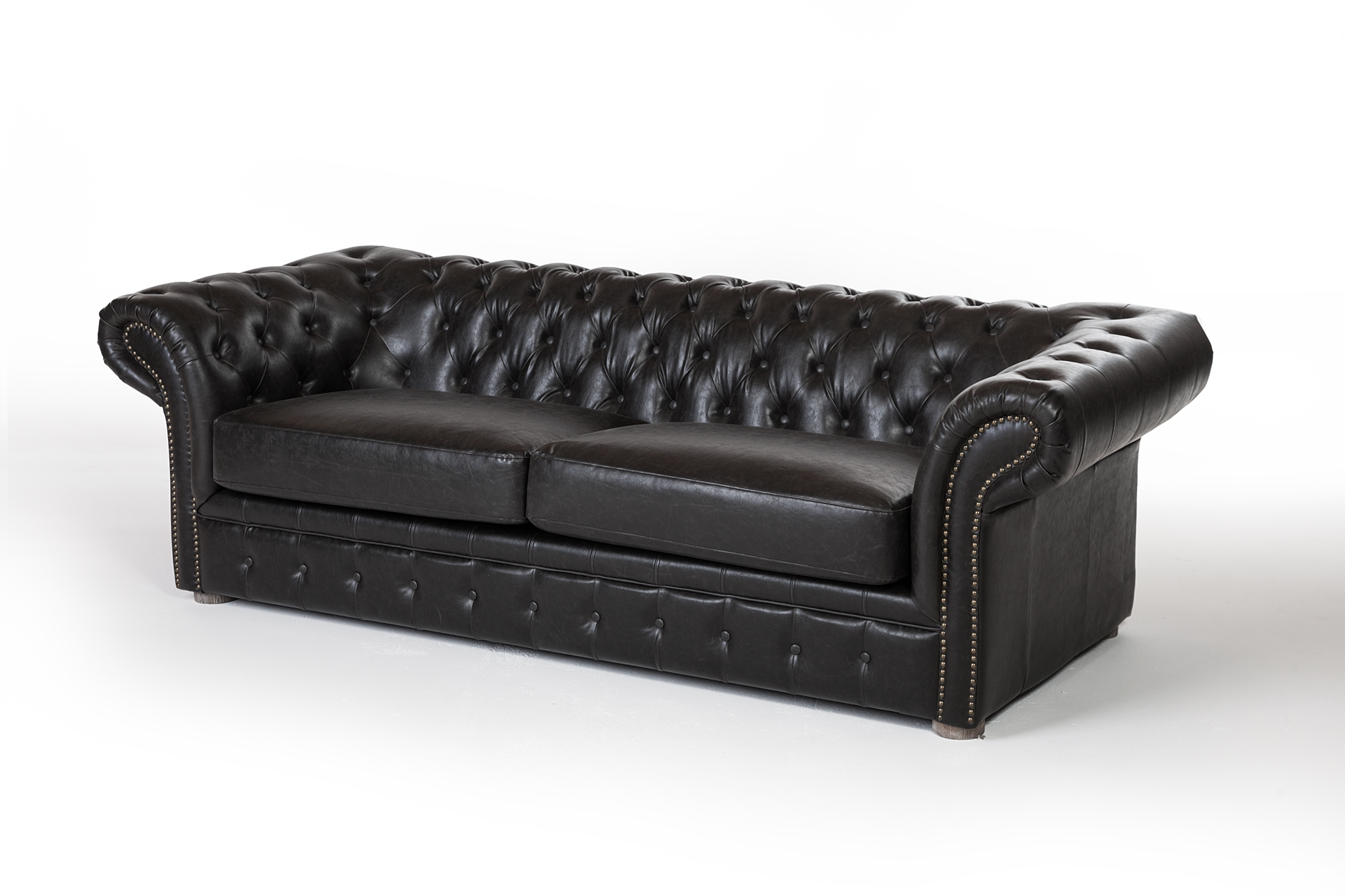 Chesterfield 91 Sofa Distressed Black Leather