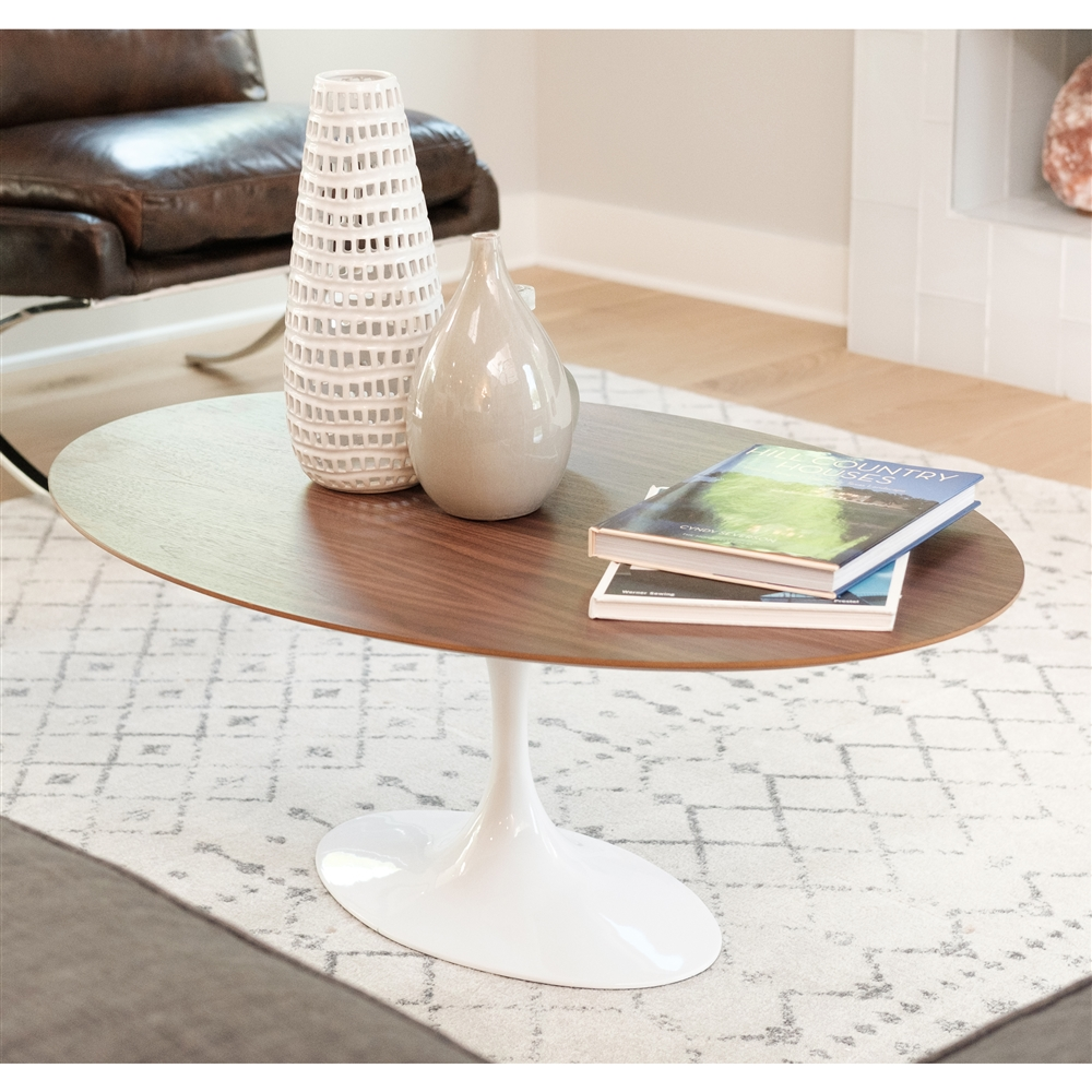 Saarinen Style Tulip Walnut Coffee Table 42