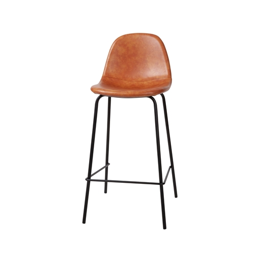 Smart Counter Stool in Distressed Cognac Leather - Gold Frame
