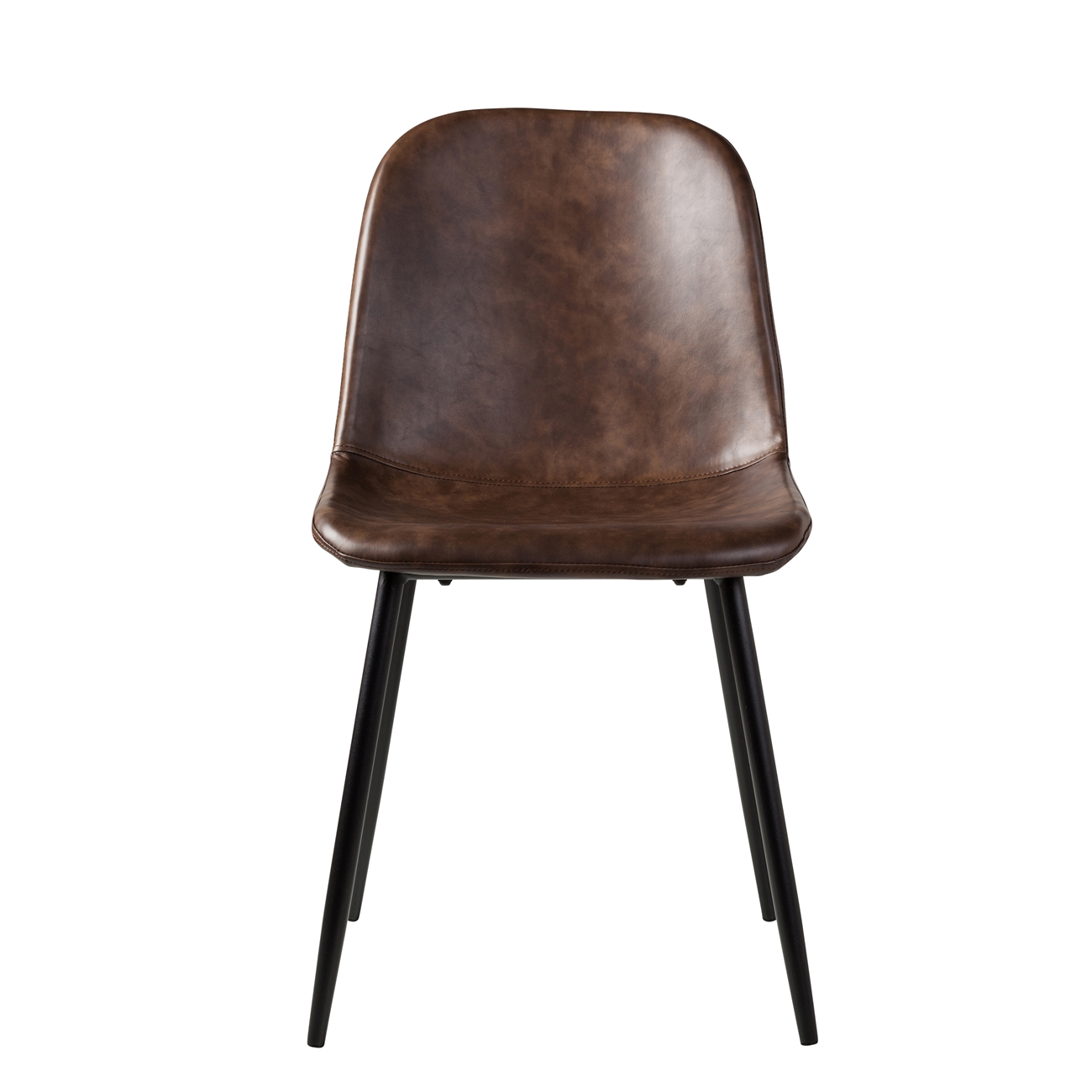 Distressed Brown Leather Dining Chair