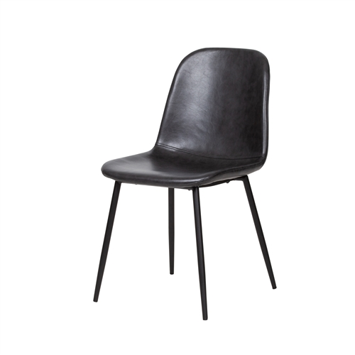Norwich Distressed Black Leather Dining Chair