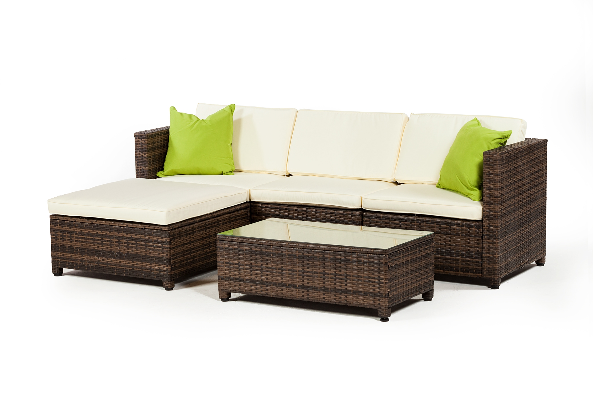 Outdoor furniture 3 piece set with ottoman in grey rattan the khazana home austin furniture store
