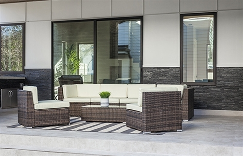 Large Outdoor Furniture Set in Dark Brown Rattan