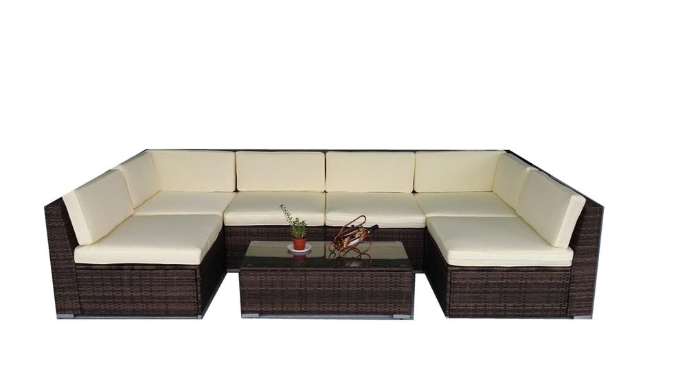 Large Outdoor Furniture Set in Dark Brown Rattan