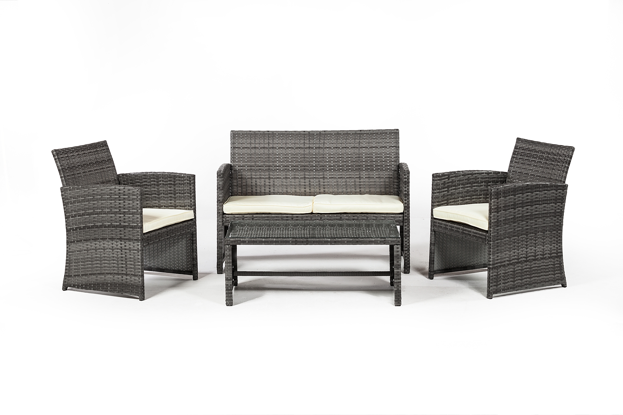 Outdoor furniture 4 piece set in grey rattan the khazana home austin furniture store