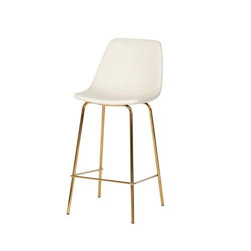Honoria Gold Counter Stool - White Leather