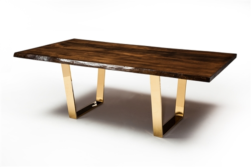 Versailles Dining Table in Gold With Live Edge North American Walnut Table Top
