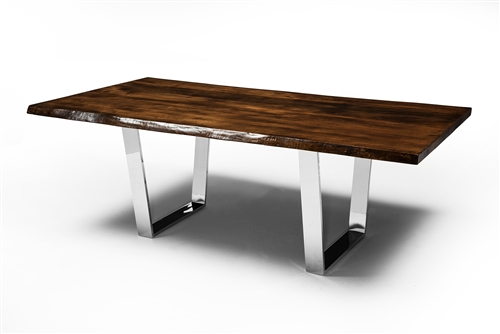 Versailles Dining Table in Silver With Live Edge North American Walnut Table Top