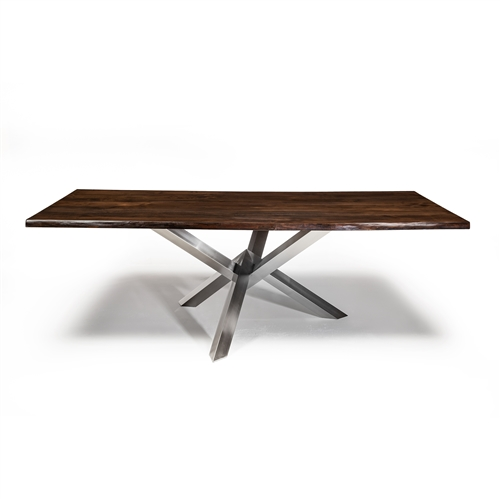 Couture Dining Table in Brushed Silver With Live Edge North American Walnut Table Top 96""